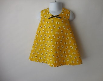 Bumble bee criss cross pinafore and matching bloomers