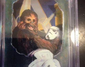 Star Wars original 3D pop up art collectible cards-chromnium,hand made, Chewbacca-stormtroopers
