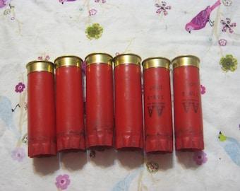 Six 6 Spent Brass 12 Gauge Shot Gun Bullet Shells Empty  for Jewelry, crafts, Art