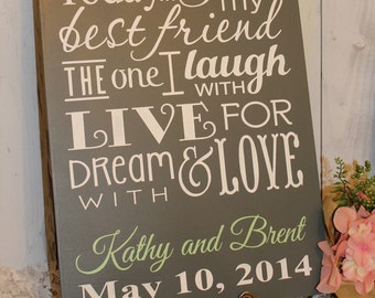 Today I Marry My Best Friend Sign/Wedding Sign/Personalized/Names/Date/Subway Style/Reception Sign/Romantic Sign/U Choose Colors/Gray/Mint