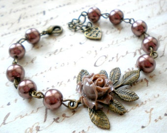 Leaf Bracelet Woodland Jewelry Flower Bracelet Brown Pearl Bracelet Bridesmaid Gift Nature Wedding Jewelry Woodland Bracelet Leaf Jewelry