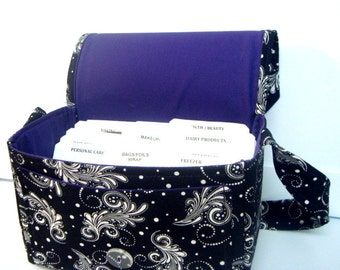 "Large 4"" Size Coupon Organizer / Budget Organizer Holder Box - Attaches to Your Shopping Cart - Black with Firework Swirls"