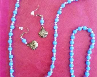 Blue Beach Bubbles and Shells set