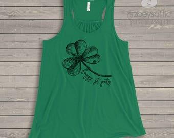 St. Patrick's Day shirt - happy st pats day shamrock flowy tank top SNLS-062-f