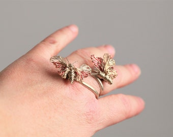 Butterfly ring, 14k gold ring, solid silver, solid gold, yellow gold, wire ring, boho chic, fine jewelry, Summer, anniversary gift for wife