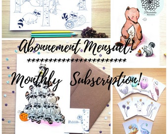 Monthly subscription, surprise gift, illustration, watercolor, toddler activity, monthly gift, mail, subscribe, one year subscription