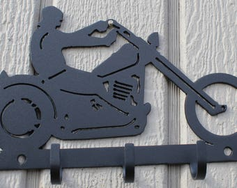 Motorcycle Key Holder Metal Wall Art Home Decor
