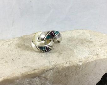 Vintage Southwestern Native American 925 Sterling Silver Pierced Hoop Earrings BG Mudd Purple Turquoise Detail