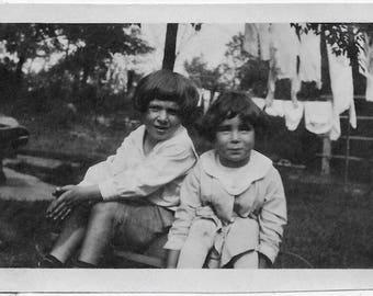 Old Photo 2 Boys Outside Laundry on Clothesline 1910s Photograph Snapshot vintage