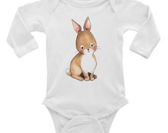 Infant Bunny Shirt - Easter Toddler Outfit - Toddler Rabbit Shirt - Infant Long Sleeve Bodysuit