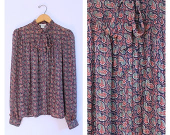 Vintage 1980's Navy Blue + Red Paisley Bow Collar Blouse L
