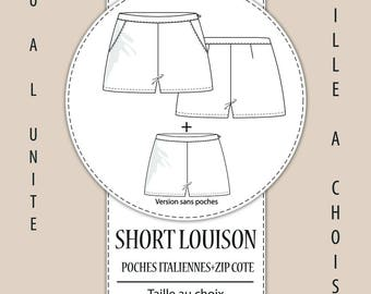 "Pattern shorts ""LOUISON"" - sold at the waist (your choice: 34 to 46)"