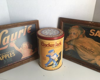 Vintage Collectibles- Fruit Crate Labels and Tin