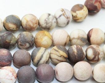 Matte Brown Zebra Jasper , 8mm Round Japser Gemstone Beads,15.5inch, about 50 beads-GEM1730