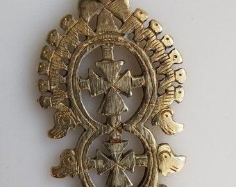 BRASS Ethiopian Coptic Cross, Ethiopian Cross, African pendant, African cross, cross pendant, brass cross