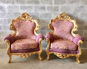 Rococo Furniture Bergere Chair Antique Italian Throne *4 Chairs Avail* Gold  Leaf Purple Lavender