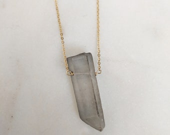 Smokey Quartz Spike Necklace / Natural Stone / Crystal / simple / edgy / fun