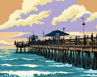 St Petersburg, Florida - Pier and Sunset (Art Prints available in multiple sizes)
