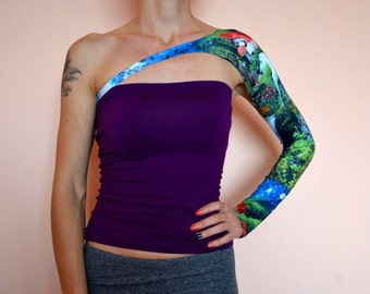 ONE SLEEVE TOP Festival Top 2018 Tattoo Cover One Sleeve Arm Warmers Tattoo Covers Abstract Clothing Fairy Pattern Many Colors
