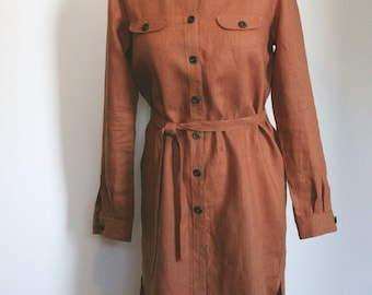 Linen shirt-dress brown with orange tinge for women
