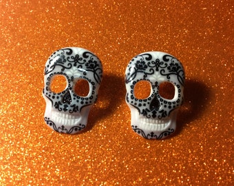 White Sugar Skull Day of the Dead Stud Coco Earrings