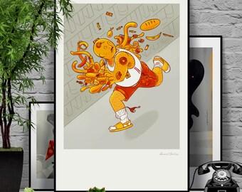 Sticky Fingers. Original illustration art poster giclée print signed by Paweł Jońca.