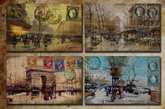 Shabby Chic I Love Paris Antique French Postcards Street Scenes Vintage Decoupage Journaling Backgrounds Digital Collage Sheet 208 From Memoriesemporium On