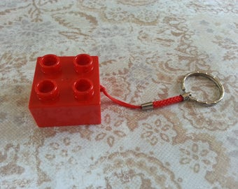 Keyring original brick construction cube Red