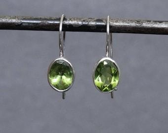 Peridot Drops, Peridot Earrings, Peridot and Silver, August Birthstone, Faceted Peridot, Silver Drop Earrings, Birthstone Earrings,