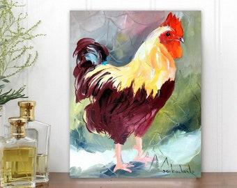 Rooster Art Chicken Original Oil Painting by Tetiana Room Decor Kitchen Decor Farmhouse decor