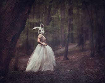 Up Close Creepy but Elegant Rabbit in the Trees and Moonlight Fine Art Conceptual Digital Photograph