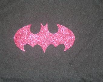 Batman Logo Shirt Women's Cut Pink Sparkle Glitter Black T-Shirt