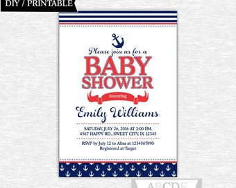 Red and Navy Nautical Baby Shower invitation, Nautical Baby Shower DIY Printable (NMOSI001)