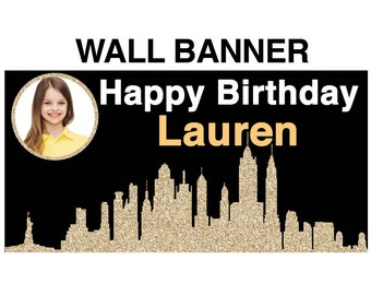 New York City Theme Photo Banner ~ Personalized Party Banners Birthday Party Banner - In the City Party Banner - 16th birthday Banner