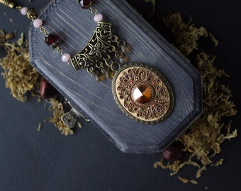 Orange Ethnic jewelry Swarovski, tibetan red necklace, Indian orange necklace, tribal filigree necklace, tibetan filigree orange necklace