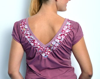 berry jersey top polka dots flowers