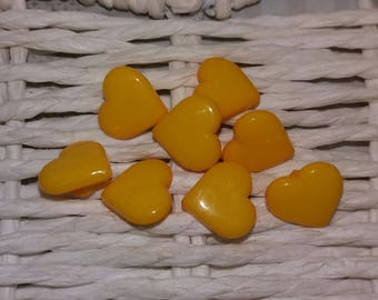 set of 8 yellow heart buttons