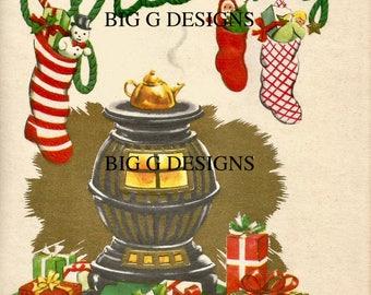 Vintage Christmas greetings card wood stove stockings digital download printable instant image clip art