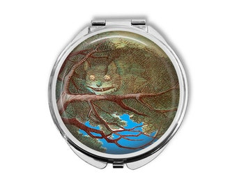 Alice In Wonderland Cheshire Cat Compact Mirror Pocket Mirror Large Gifts for her
