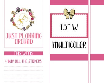 Multicolor Bow Half Boxes, Bow Half Box Stickers, Half Box Planner stickers, Functional Stickers