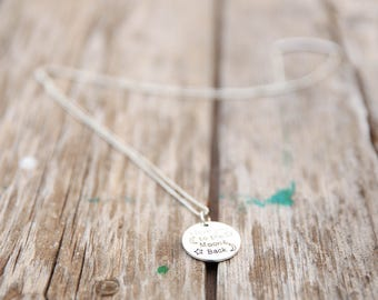 SILVER long necklace,Love You To The Moon & Back, dainty necklace, everyday necklace, for Mother's Day long silver necklace