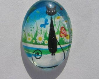 Cat in flowers and butterflies 18x25cm cabochon