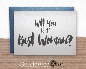 Will you be my best woman card from groom engagement groomsman ring bearer wedding party invitation for wedding bachelor party