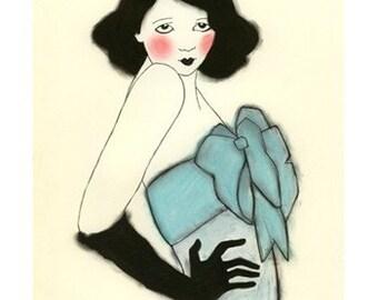 """Fashion illustration -  Black Gloves - 4"""" X 6"""" - 4 for 3 SALE"""