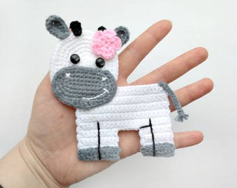 PATTERN Cow Applique Crochet Pattern PDF Farm Animal Pattern Instant Download Embellishment Accessories Motif Ornament for Baby Blanket ENG