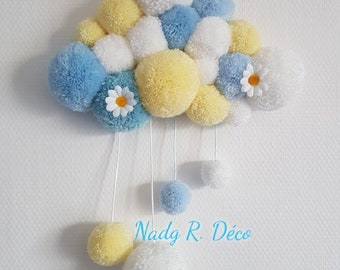 Cloud tassel white blue yellow daisies - wooden support back cloud hanging - handmade