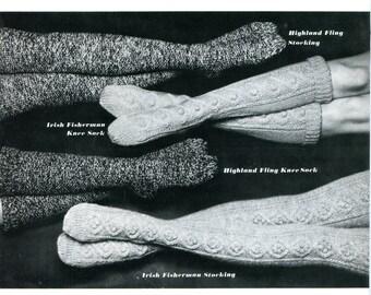 1950's Highland Fling & Irish Fisherman Stockings or Knee Socks  PDF Pattern Instant Download