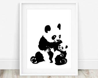 Panda Poster - Panda Wall Art, Panda Art, Panda Artwork, Panda Print, Panda, Panda Nursery Decor, Panda Bear Art, Panda Nursery Print