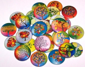 """Colorful Whimsical Fantasy Trees Pins (10 Pack), 1"""" or 1.5"""" or 2.25"""" Pin Back Buttons or Magnets, Rainbow Tree Buttons"""