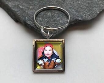 16mm Small Photo Keychain, Memorial Key Chain, square key chain, Personalized Key Chain, picture key chain, photo key chain